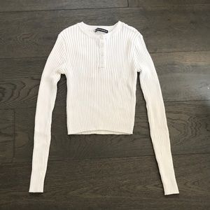 ribbed henley long sleeve top